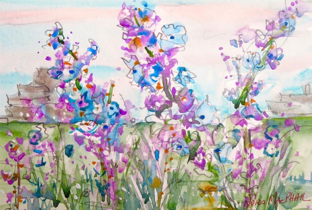 """""""purple puzzle pieces"""" original fine art by Nora MacPhail"""