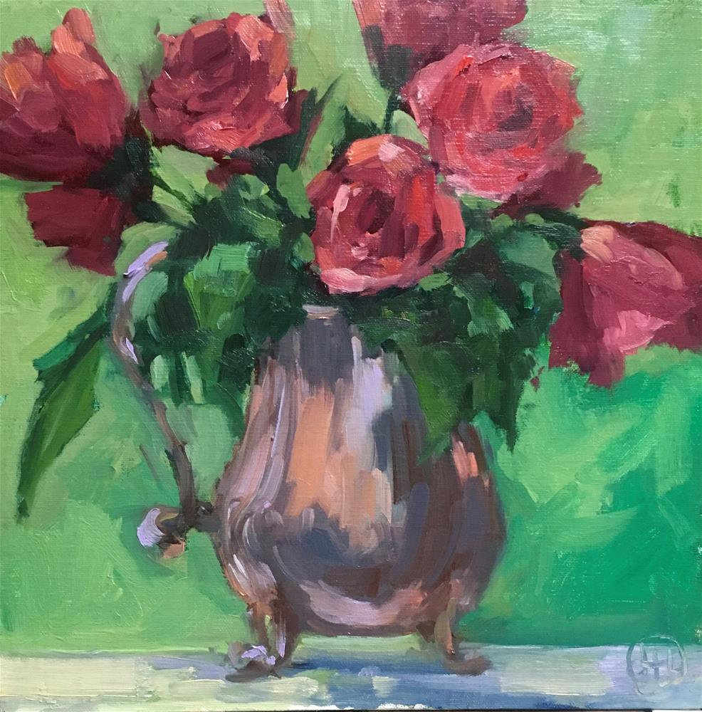 """roses in a silver pitcher"" original fine art by Dottie  T  Leatherwood"