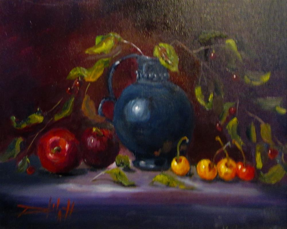"""""""Cherries and Plums"""" original fine art by Delilah Smith"""
