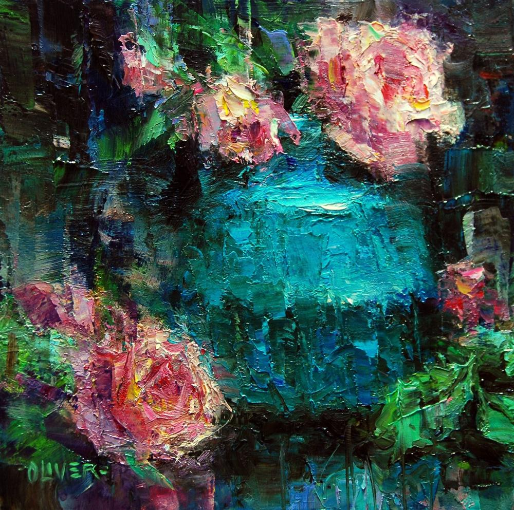 """""""Turquoise and Roses"""" original fine art by Julie Ford Oliver"""
