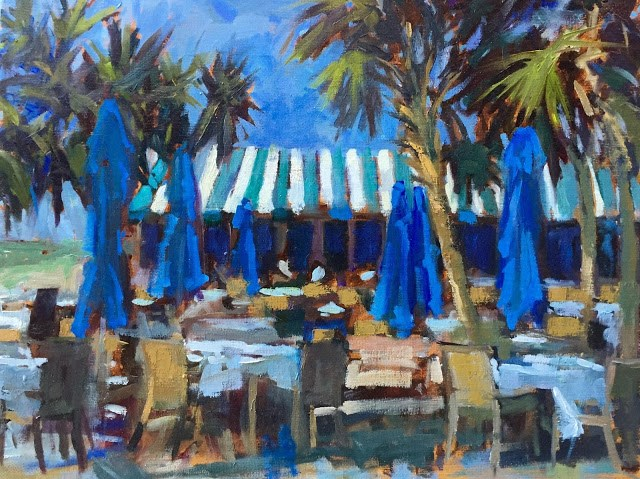 """""""Naples Beach Hotel Painted next to the Outdoor dining area because I'm in love with their striped awnings."""" original fine art by Mary Sheehan Winn"""