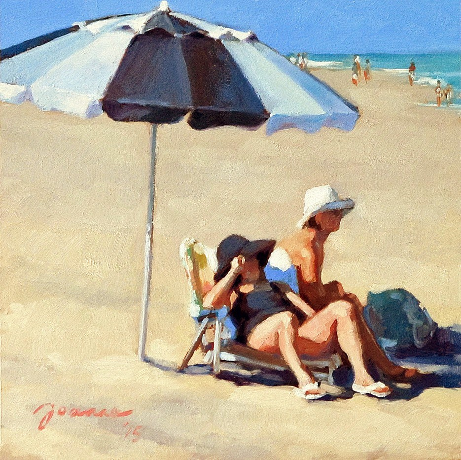 """Black and White--Series Painting of Beach Umbrella"" original fine art by Joanna Bingham"