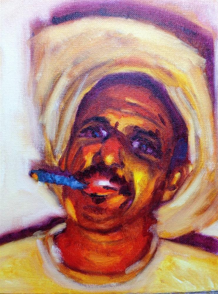"""Blue Cigar"" original fine art by Peggy Schumm"