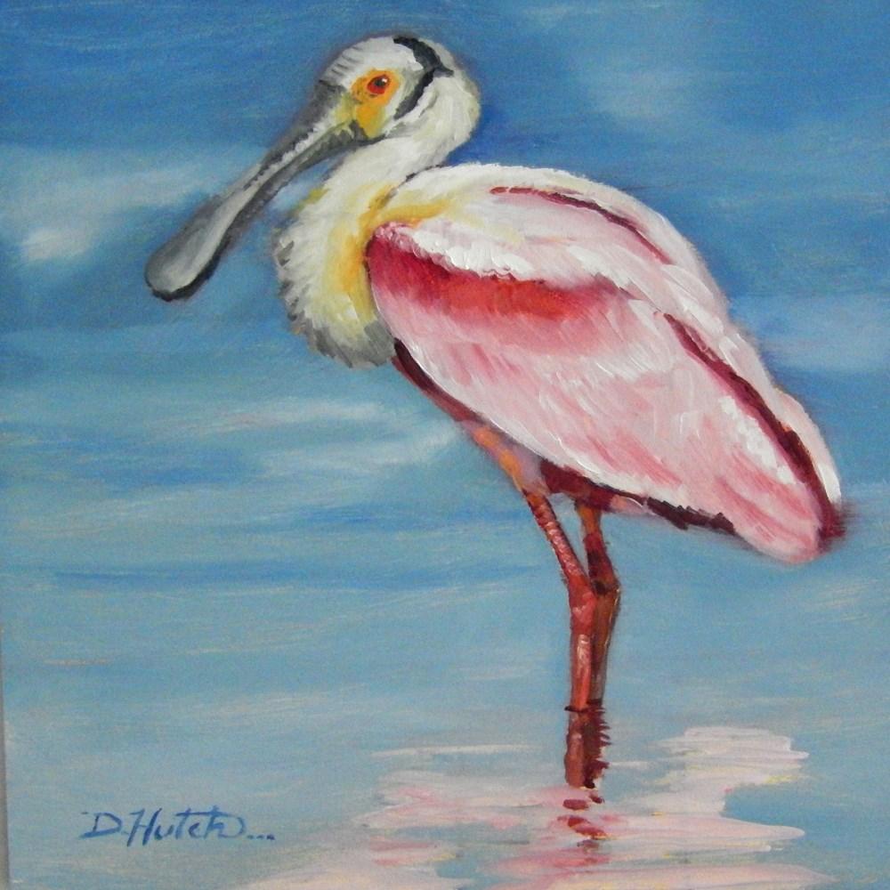 """Roseate Spoonbill"" original fine art by Diane Hutchinson"