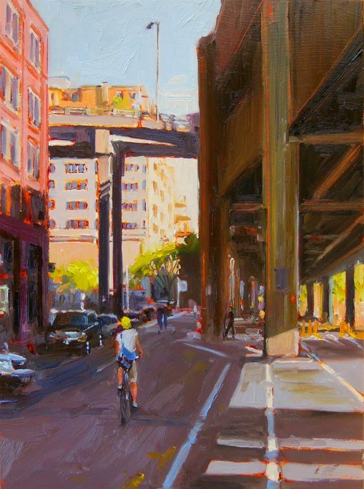 """""""Over and Under plein air, Seattle , cityscape, oil painting by Robin Weiss"""" original fine art by Robin Weiss"""