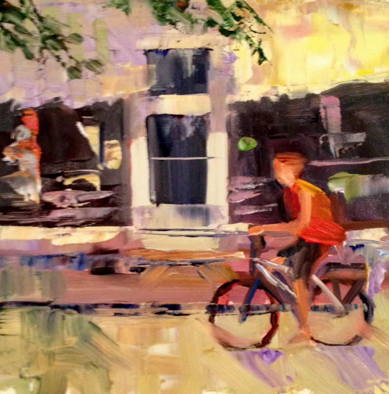 """Buzzing By, 6x6"" original fine art by Ann Feldman"