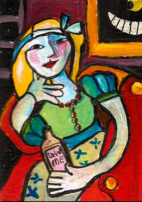 """ACEO Alice In Wonderland Picasso Style Acrylic Miniature Fantasy Penny Lee StewArt"" original fine art by Penny Lee StewArt"