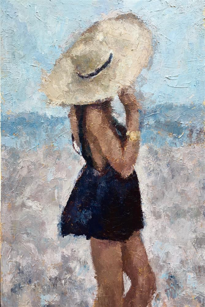 """The Beauty Behind the Sunhat"" original fine art by Nava Judith"