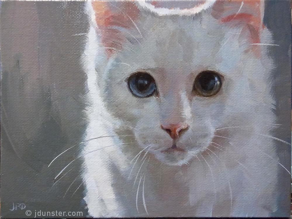 """""""White and Fluffy Kitten"""" original fine art by J. Dunster"""