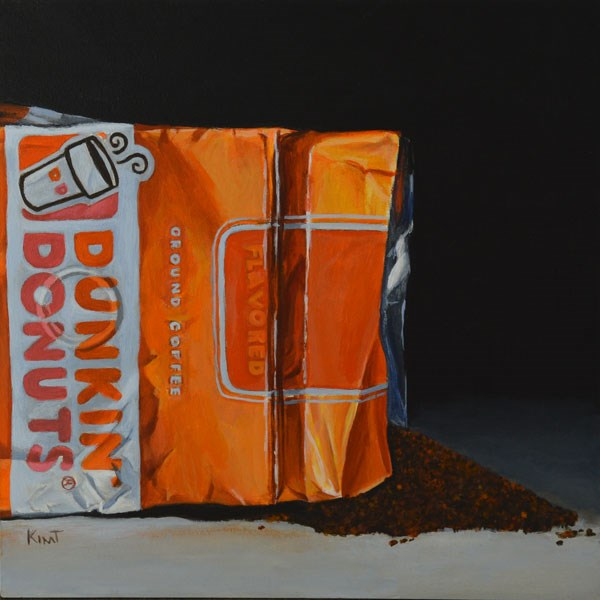"""Dunkin Donuts Coffee Bag 2"" original fine art by Kim Testone"