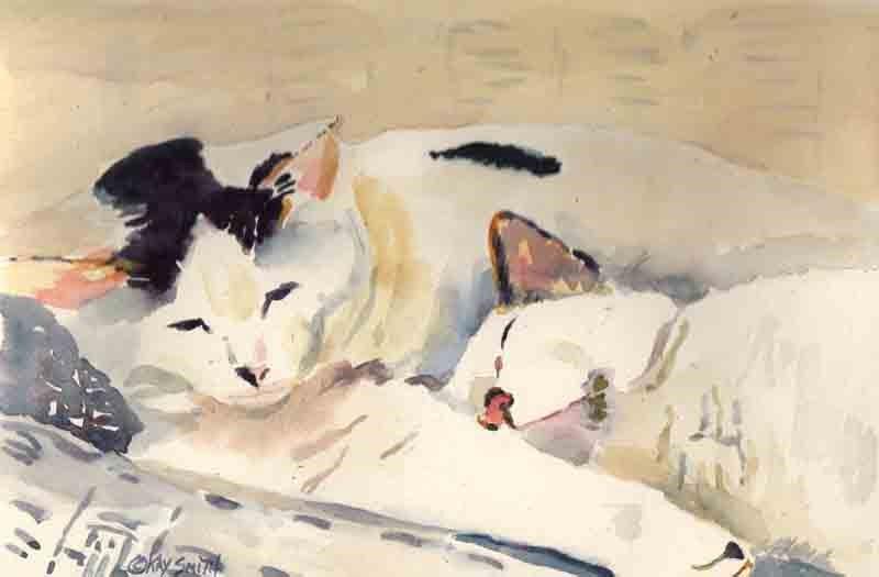 """Floyd's Cats"" original fine art by Kay Smith"