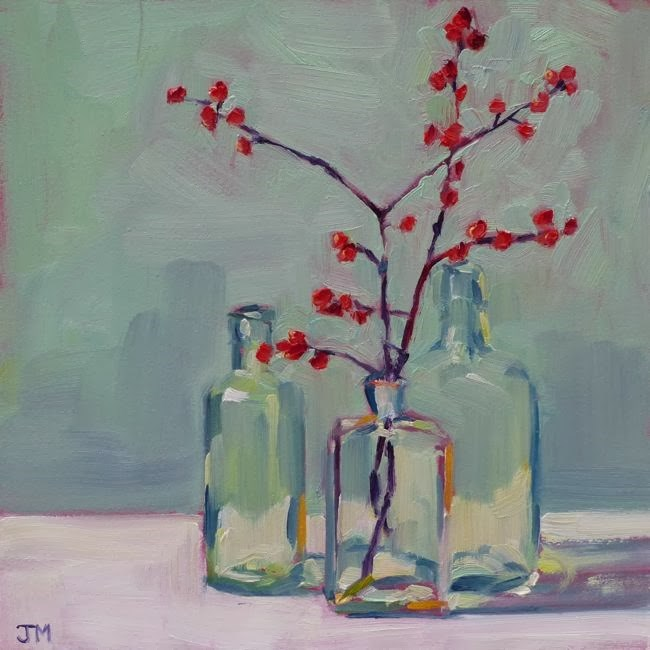 """Berries and Bottles"" original fine art by Jessica Miller"