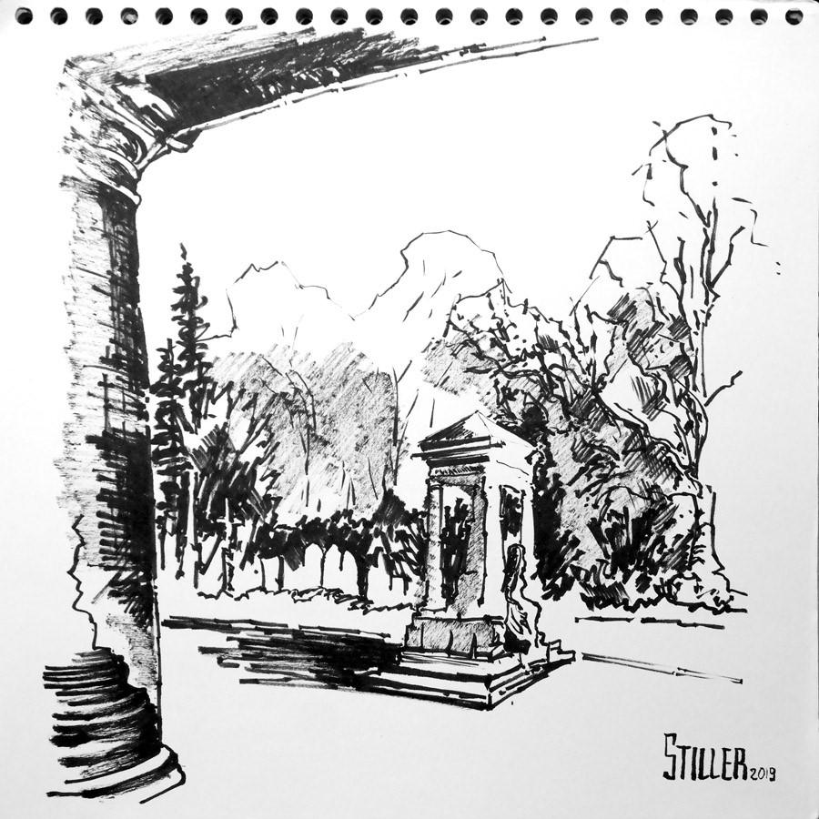 """""""2756 Cemetery Stoecken"""" original fine art by Dietmar Stiller"""