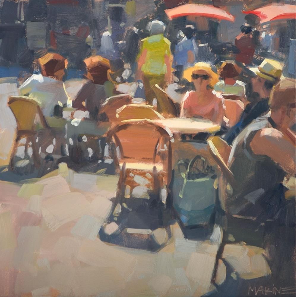 """""""Lunching in the Square"""" original fine art by Carol Marine"""