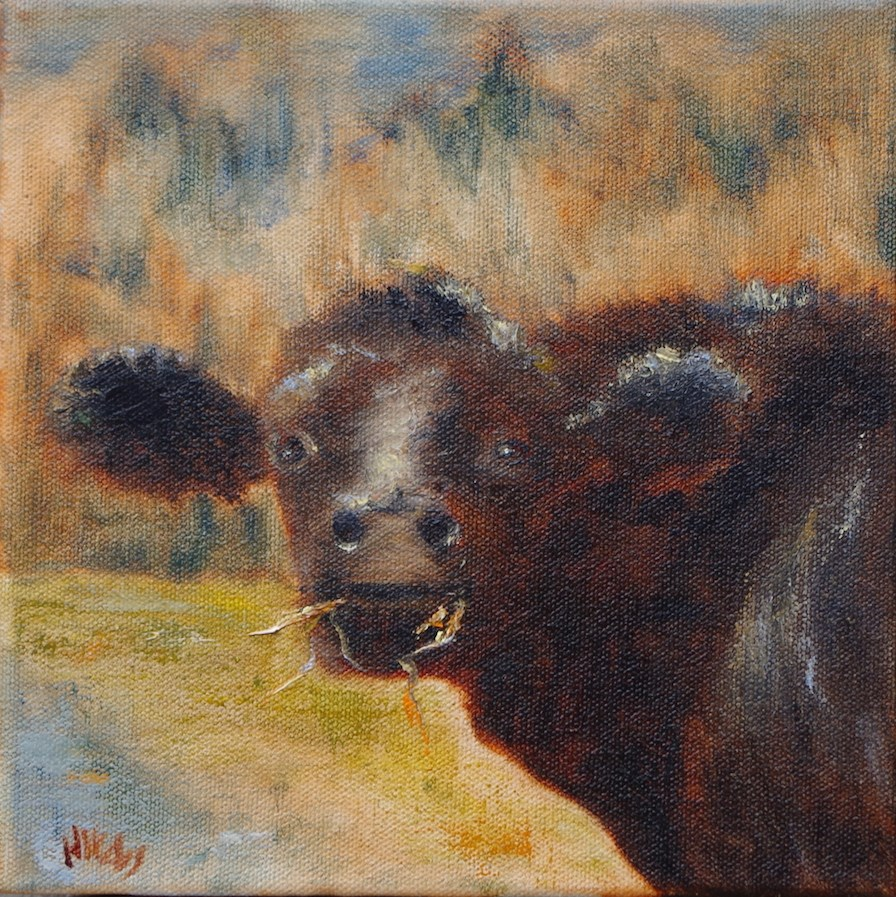 """Mooey on Roxbury Road"" original fine art by Helen Viebrock Hamel"