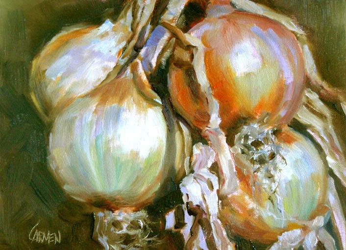"""""""Hanging Onions, 6x8, Oil on Canvas Board"""" original fine art by Carmen Beecher"""