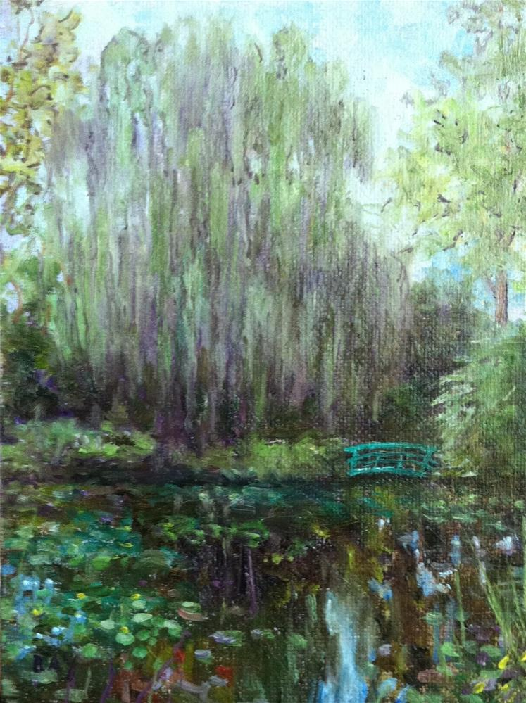 """Monet's Bridge"" original fine art by barbara yongue"