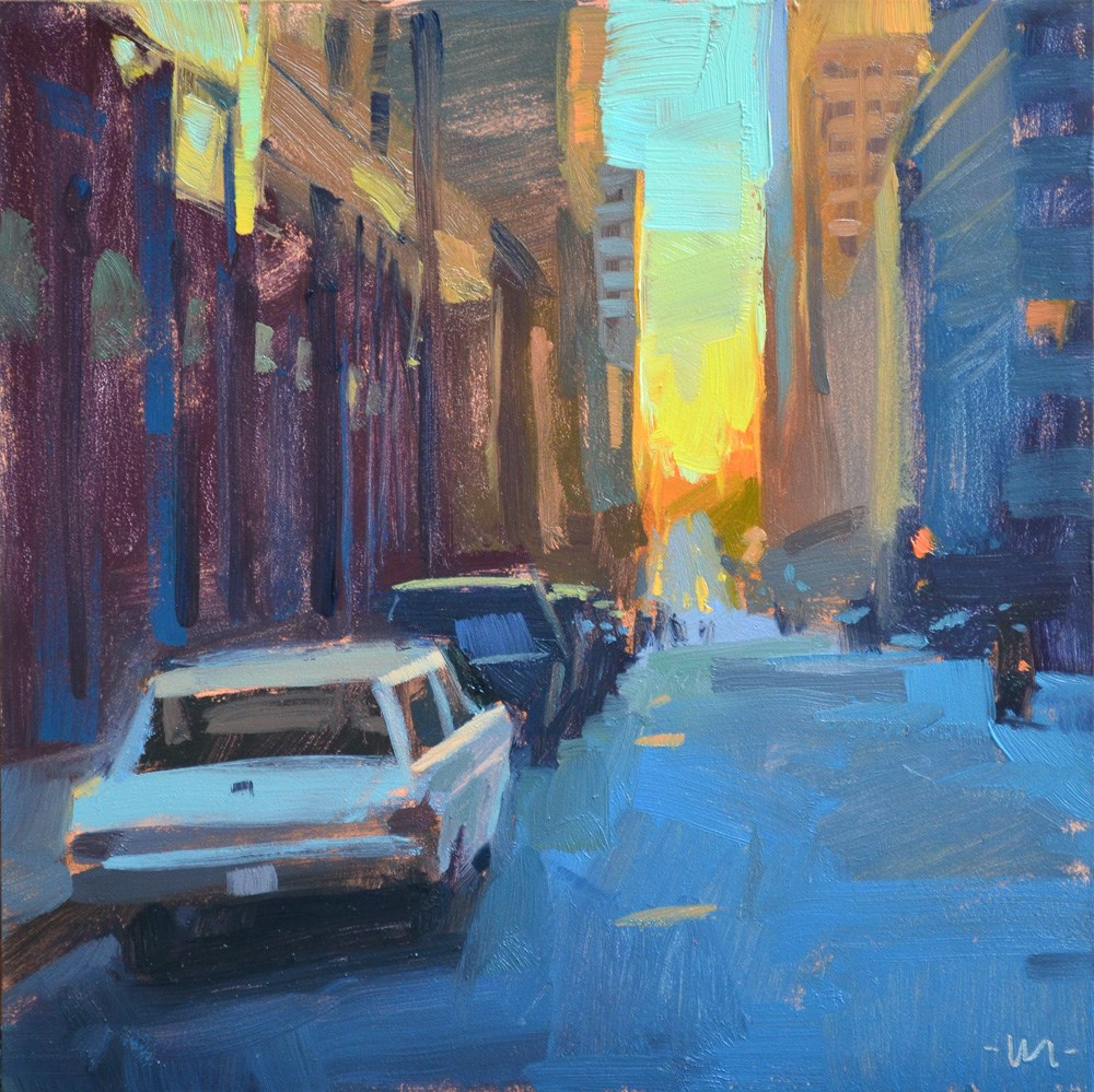 """Sunset in the City"" original fine art by Carol Marine"