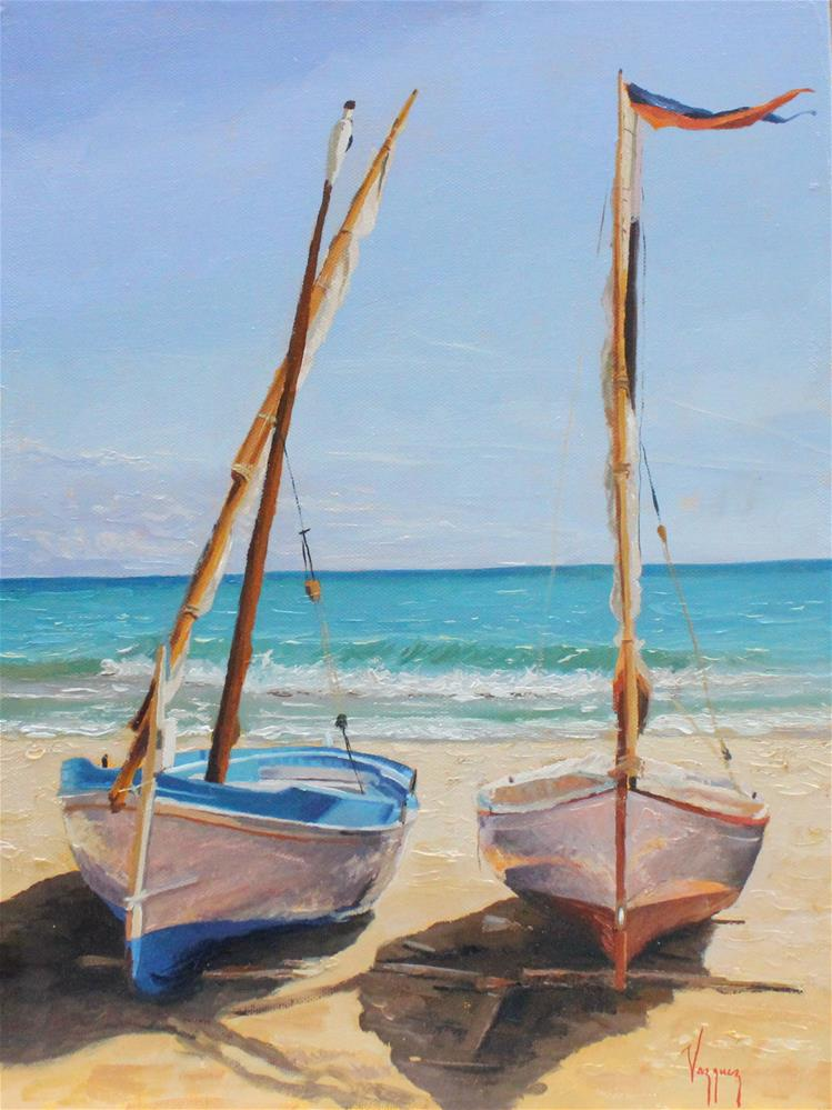 """""""Two boats at the beach"""" original fine art by Marco Vazquez"""