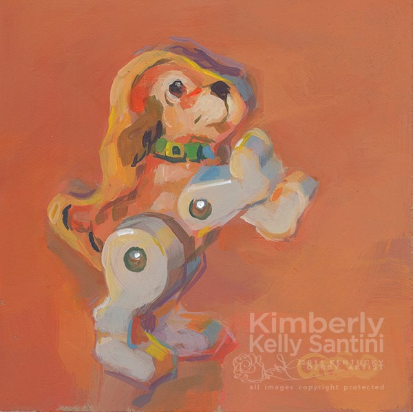 """Fisher Price Little People Puppy, Toy #10"" original fine art by Kimberly Santini"