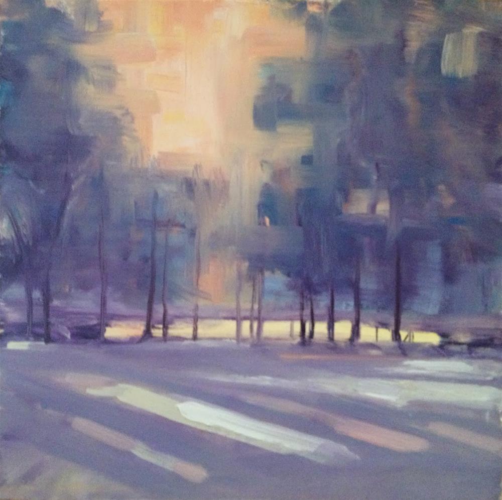 """January Sunset, 8x8"" original fine art by Ann Feldman"