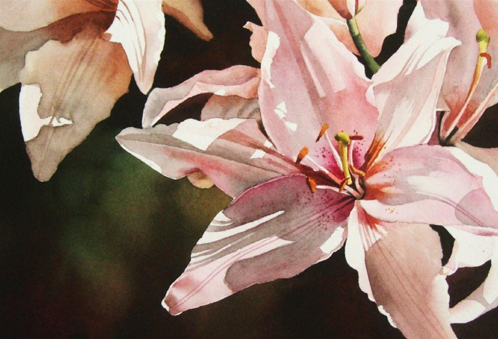 """Lily with Sun Sparkles"" original fine art by Jacqueline Gnott, TWSA, WHS"