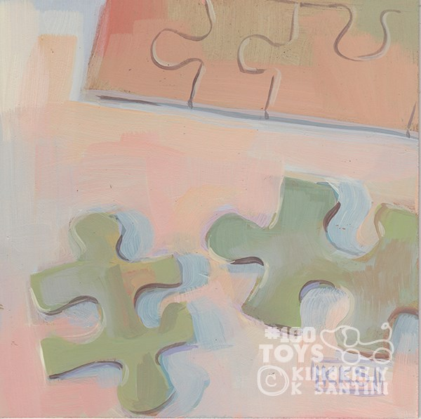 """Jigsaw Puzzle I, Toy #28"" original fine art by Kimberly Santini"