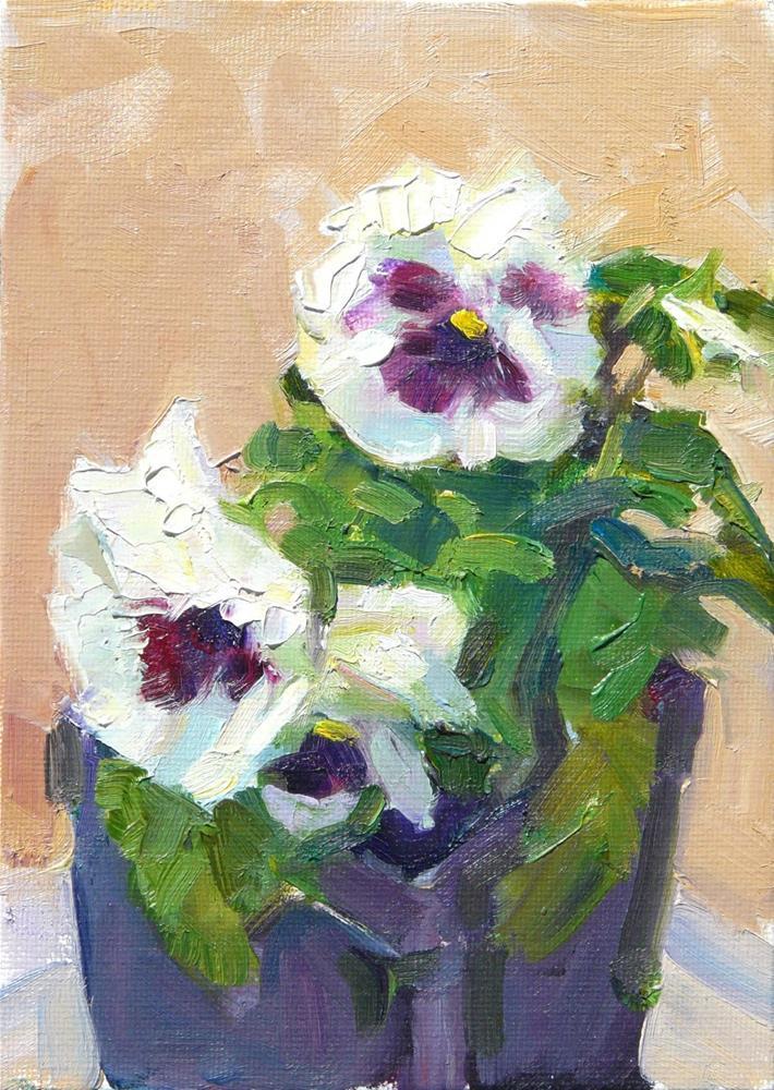 """White Dancing Pansies,still life,oil on canvas,7x5,price$200"" original fine art by Joy Olney"