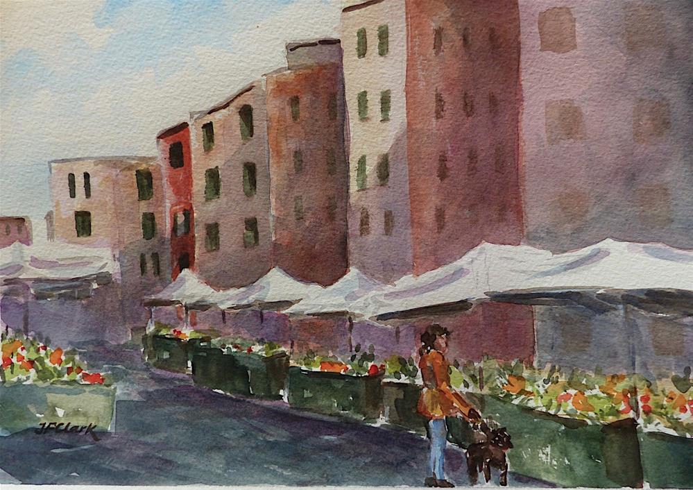 """Rapallo Marketplace, study"" original fine art by Judith Freeman Clark"