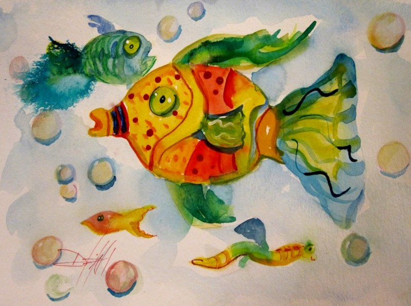 """""""Wild with Color Fish"""" original fine art by Delilah Smith"""
