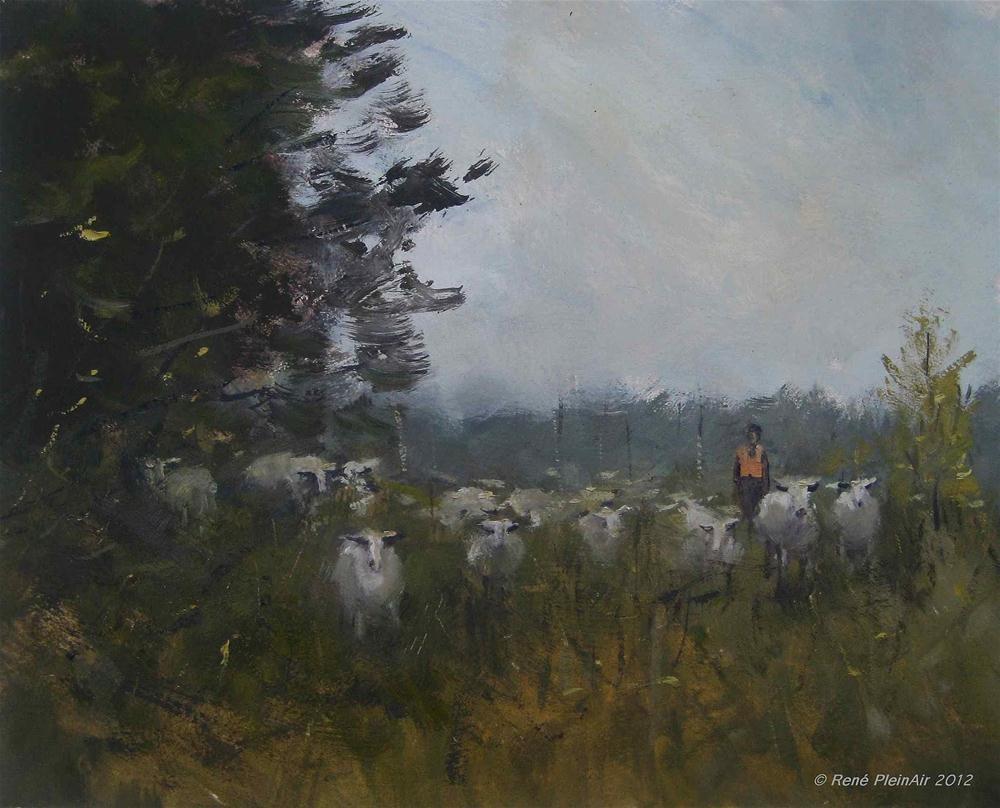 """Wednesday, sheepday!"" original fine art by René PleinAir"