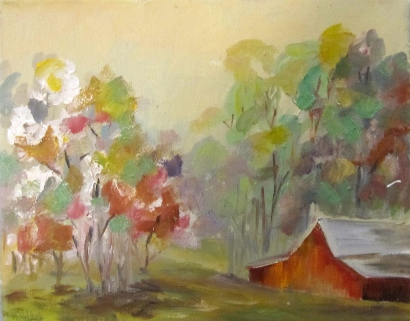 """Barn and Flowering Trees"" original fine art by Delilah Smith"