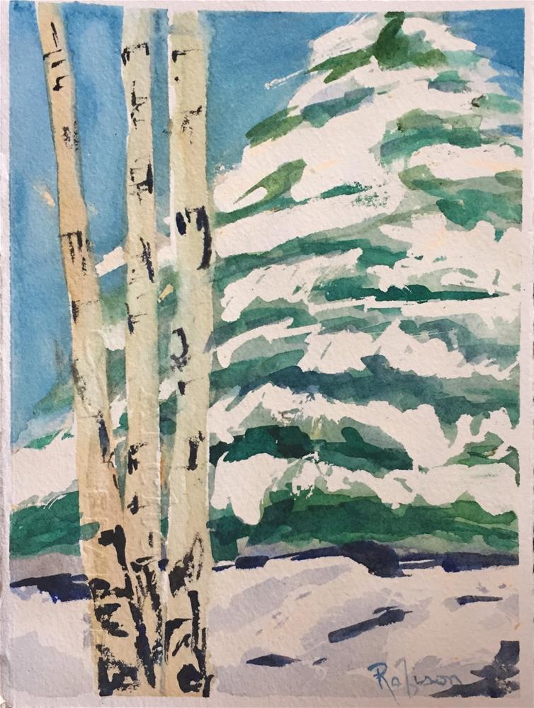 """Aspens with Snowy Fir Tree"" original fine art by Renee Robison"