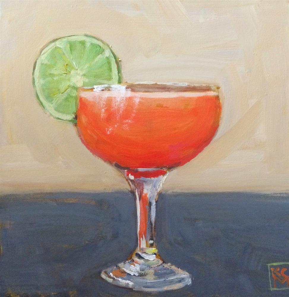 """The Spiritual America Cocktail, 6x6 inch Acrylic by Kelley MacDonald"" original fine art by Kelley MacDonald"