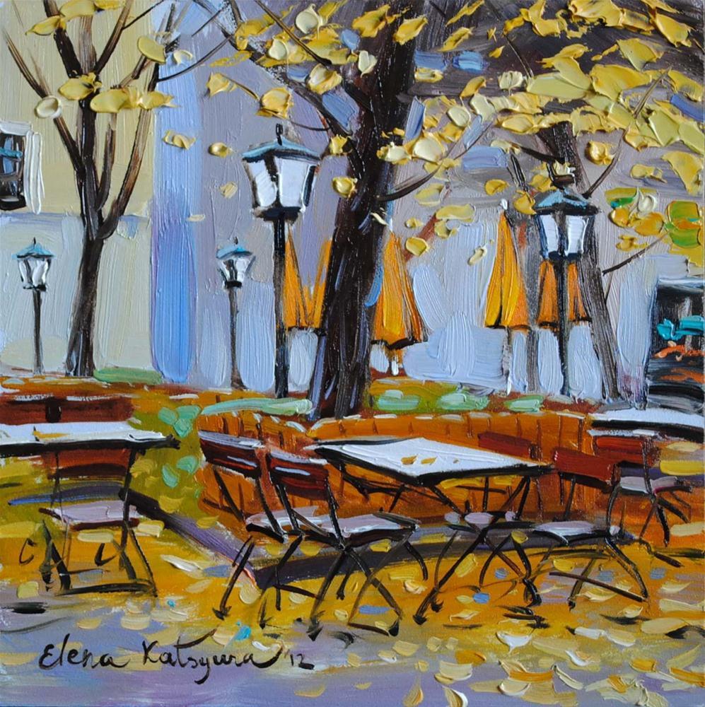 """""""Autumn Cafe"""" original fine art by Elena Katsyura"""