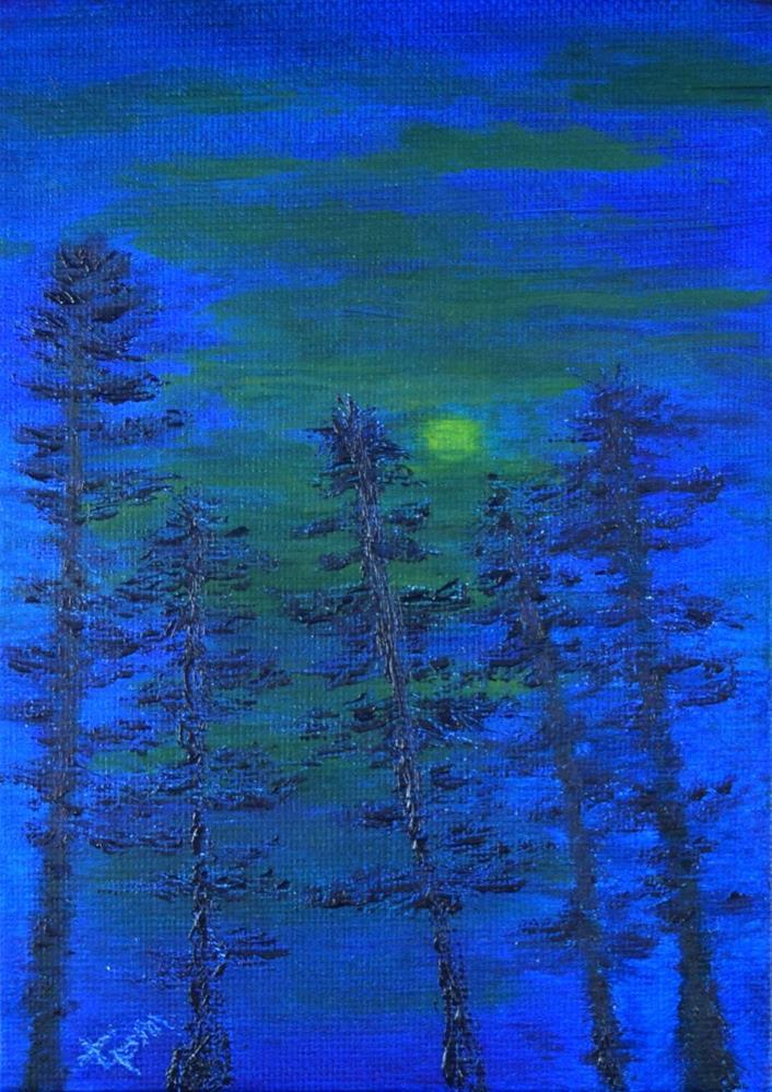"""Murky Moonlit Pine Grove"" original fine art by Tisha Mark"