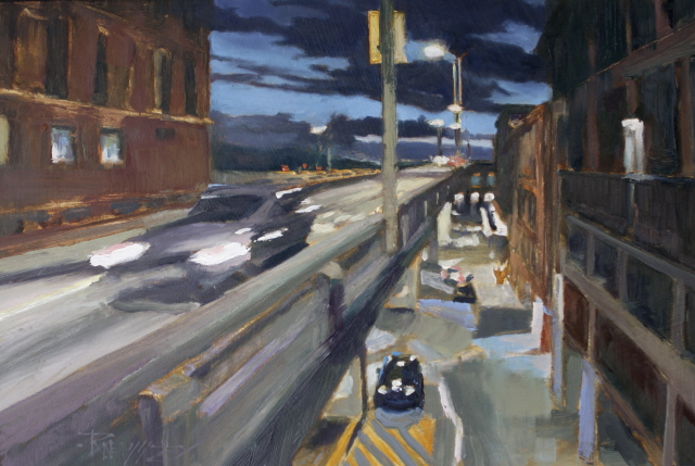 """""""Off at Seneca Street   Seattle city oil painting by Robin Weiss"""" original fine art by Robin Weiss"""