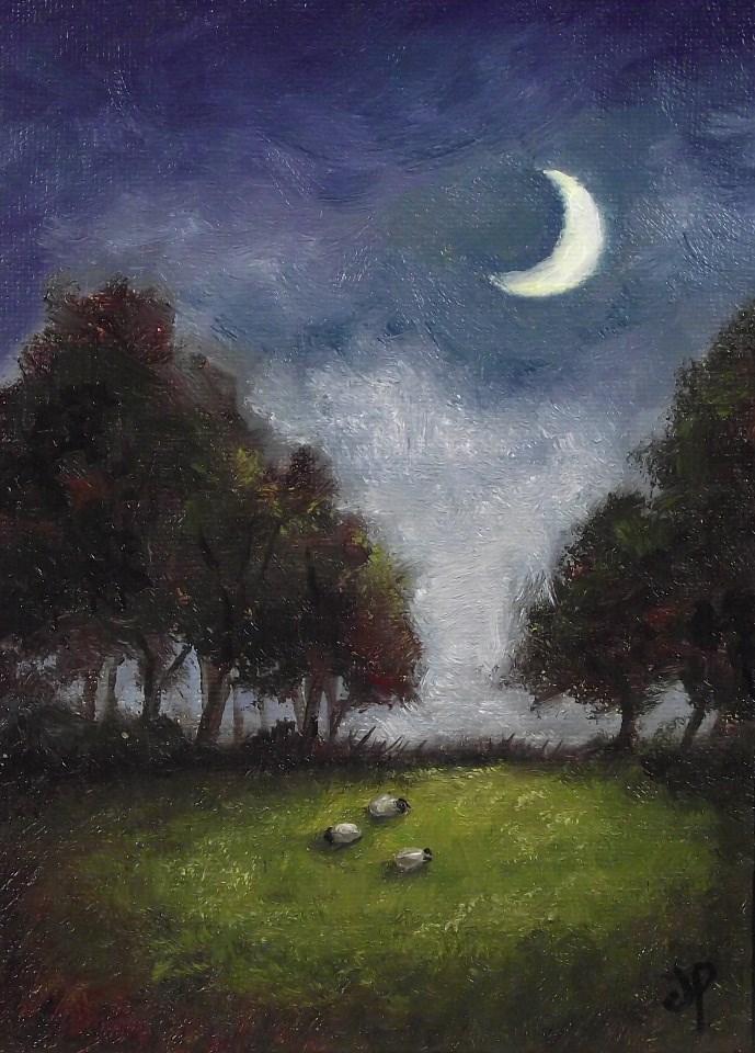 """Moon Sheep #2"" original fine art by Jane Palmer"