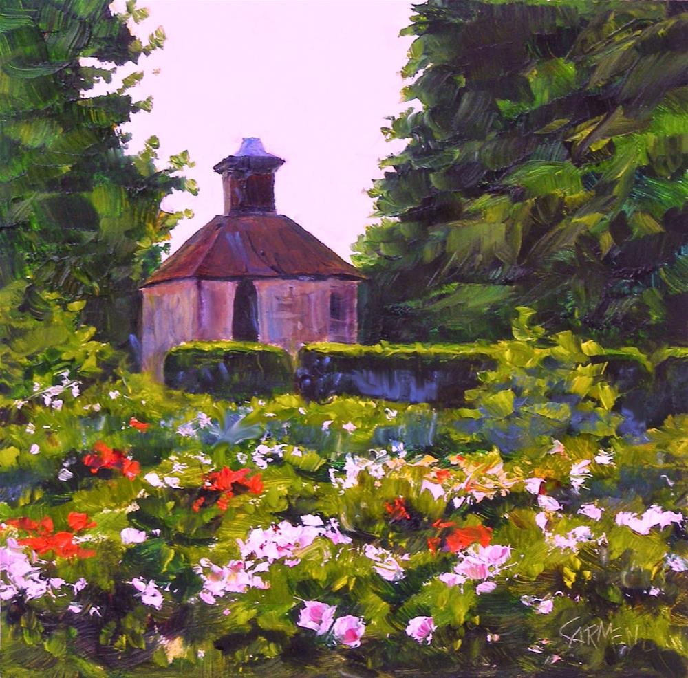 """English Roses, 6x6 Original OIl Painting on Canvas Panel"" original fine art by Carmen Beecher"