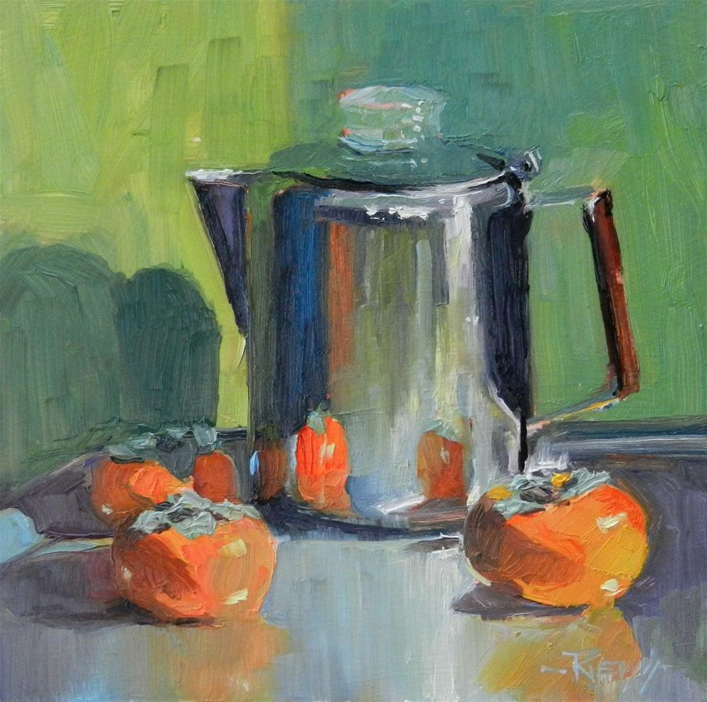"""""""Coffee Pot with Persimmons still life oil painting by Robin Weiss"""" original fine art by Robin Weiss"""