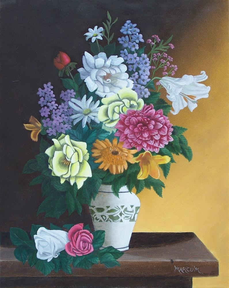 """Flowers in a vase"" original fine art by John Marcum"