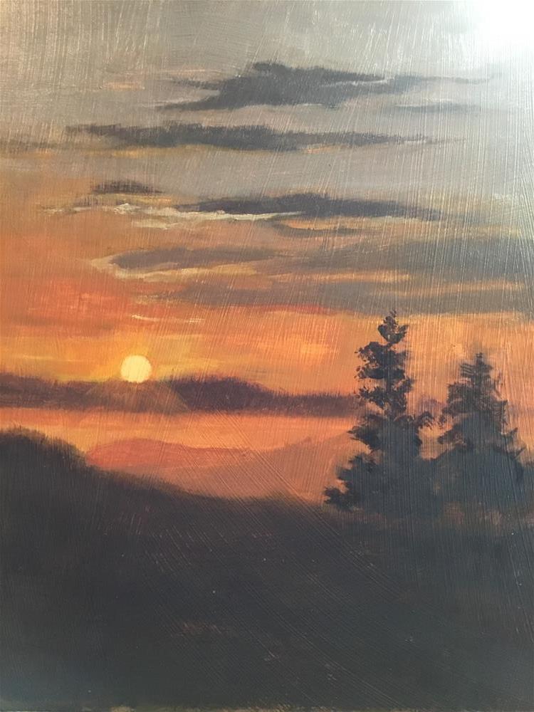 """Sunrise on the mountain top"" original fine art by Betty Argiros"
