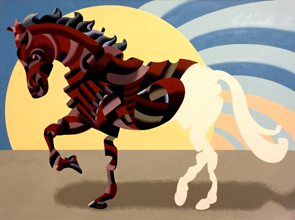 """""""Mark Webster - Further Progress on Abstract Geometric Futurist Horse Oil Painting"""" original fine art by Mark Webster"""