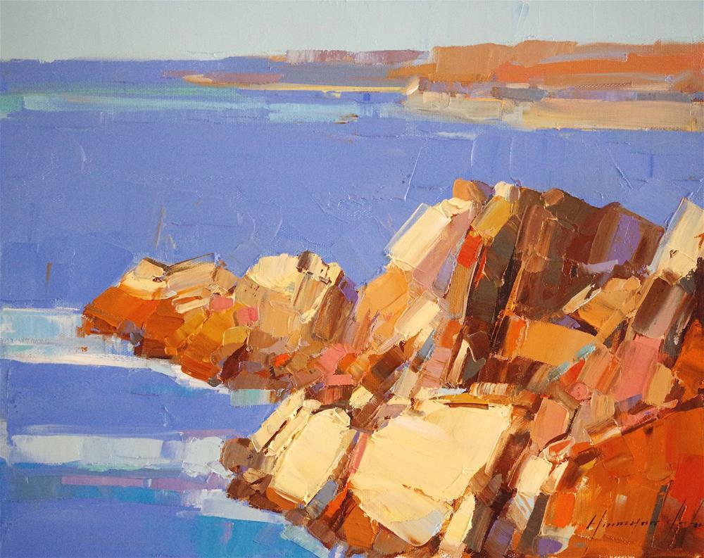 """South Bay, Seascape, Oil painting, Original Handmade art, One of a kind"" original fine art by V Y"