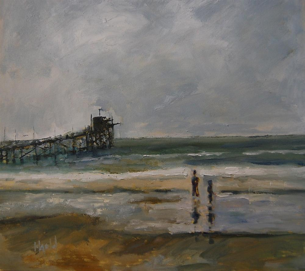 """Pier at Newport"" original fine art by Deborah Harold"
