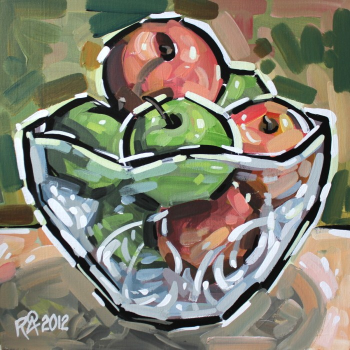 """""""Bowl with fruit 5"""" original fine art by Roger Akesson"""