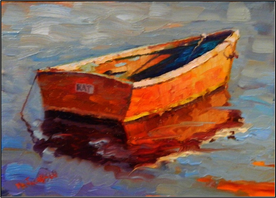 """""""The Rat Boat, paintings of old boas, small boats, wooden boats, rat boats, Rockport, Rockport harbor"""" original fine art by Maryanne Jacobsen"""