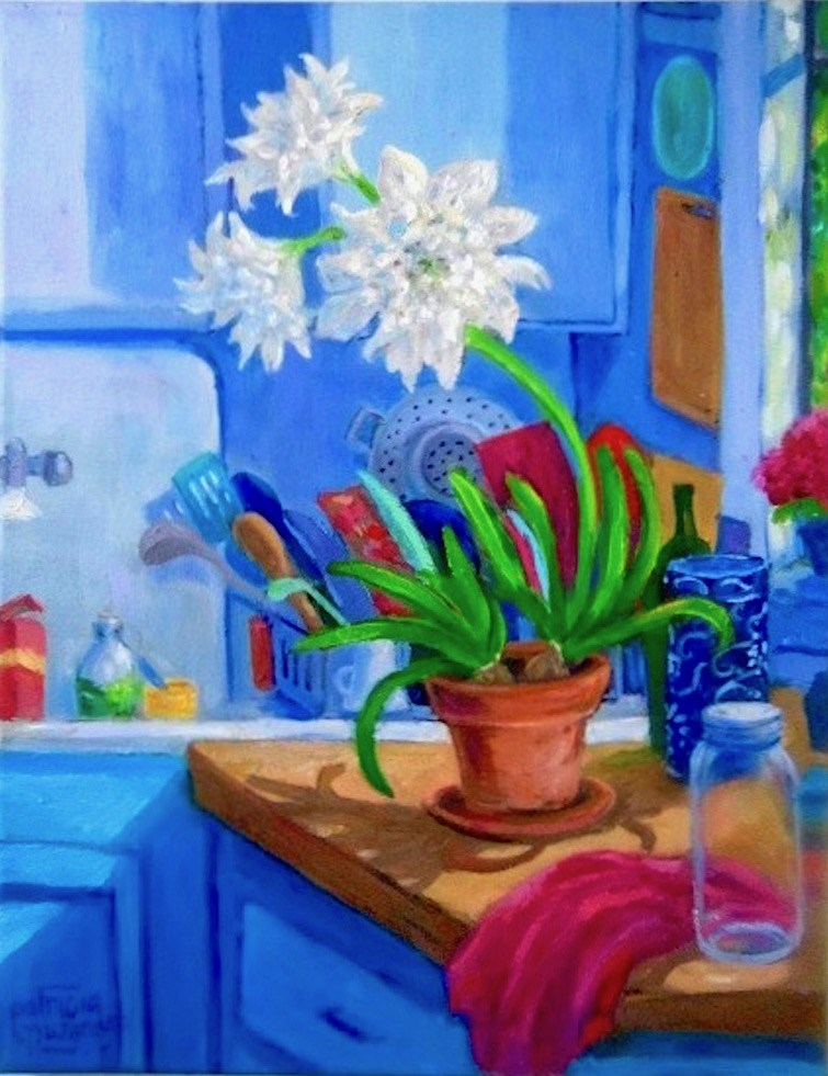 """Kitchen Counter Amaryllis"" original fine art by Patricia Musgrave"