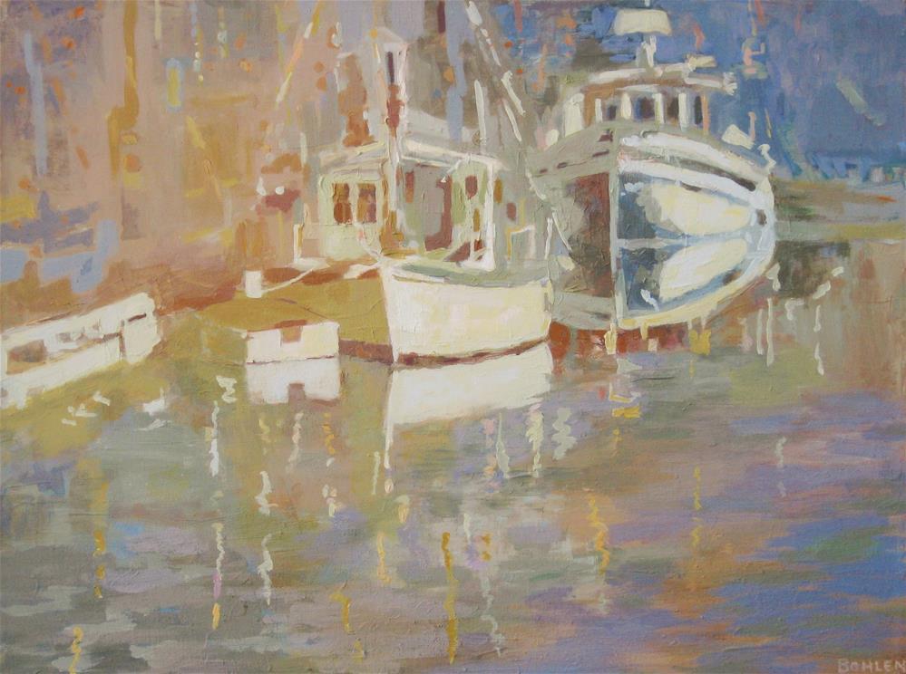 """Sunlit Boats"" original fine art by Priscilla Bohlen"