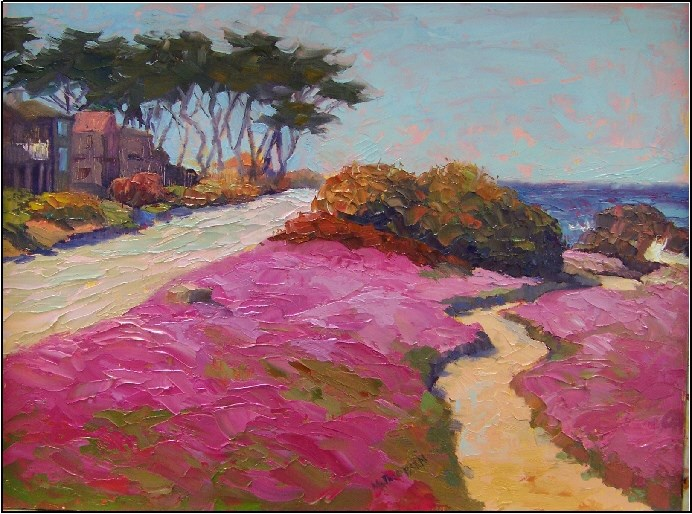 """Pink Ice Paradise, Pacific Grove, 12x16, oil on board"" original fine art by Maryanne Jacobsen"